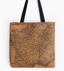 Vintage Map of Railroads in France (1914) Tote Bag