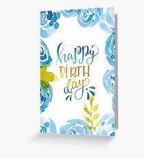 Happy Birthday Aquarell Blumen Blau Grußkarte