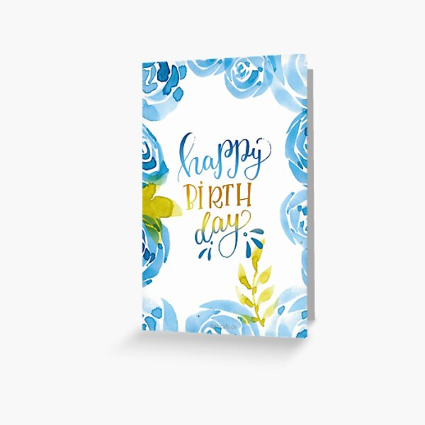 Happy Birthday Watercolor Flowers Blue Greeting Card