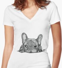 French Bulldog Puppy Women's Fitted V-Neck T-Shirt