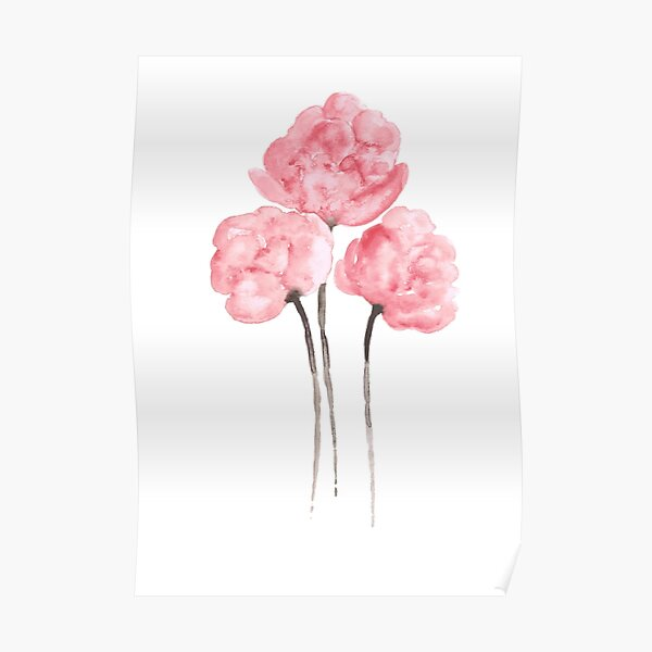 Pink Peony Bouquet Flower Watercolor Painting Drawing Poster Poster