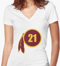 Sean Taylor Redskins Logo Women's Fitted V-Neck T-Shirt