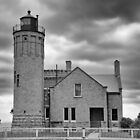 Old Mackinac Point LIght Gray Day BW by marybedy