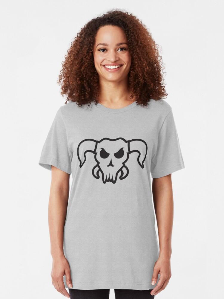 Alternate view of Angry bull/alien/demon/monster skull Slim Fit T-Shirt