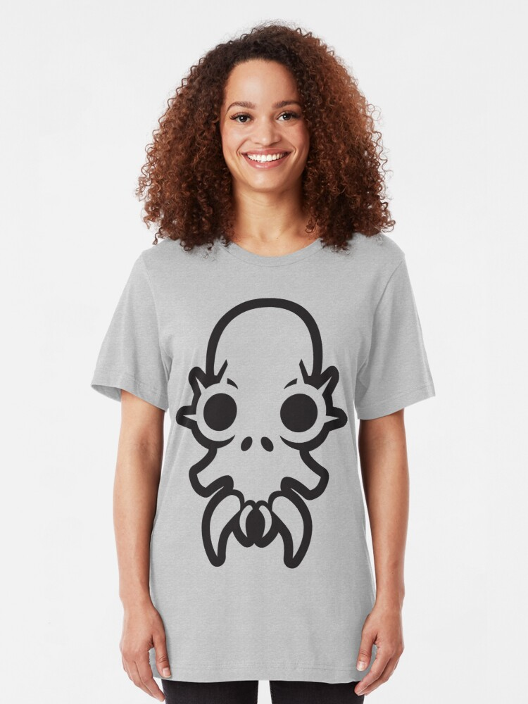 Alternate view of Wide-eyed monster skull sees you Slim Fit T-Shirt