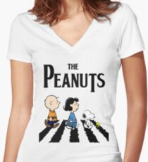 Peanuts Abbey Road Women's Fitted V-Neck T-Shirt