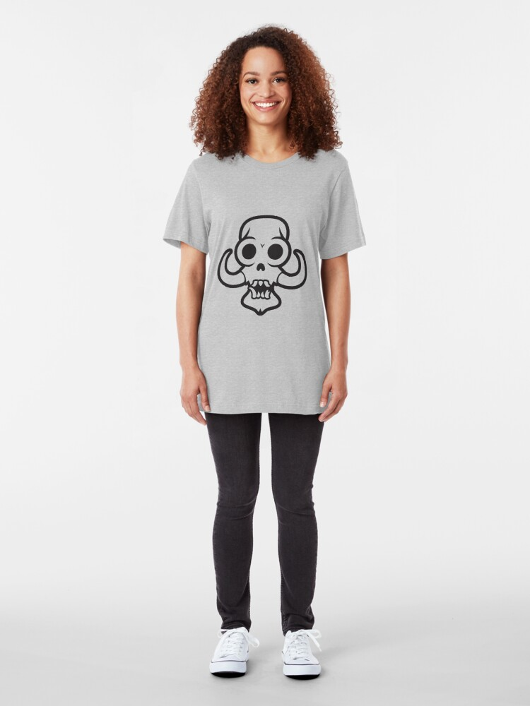 Alternate view of Monster skull with tusks out to here Slim Fit T-Shirt