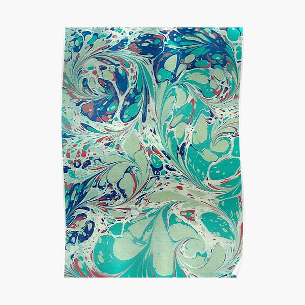 Swirl marble in gold, blue, green and red Poster