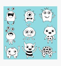 Black and white silly monsters Photographic Print