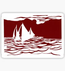 Paper art - Sailing Boats at Sunset on dark red background Sticker