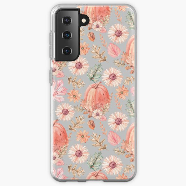 Seamless pattern with autumn pumpkin leaves and flowers Samsung Galaxy Soft Case