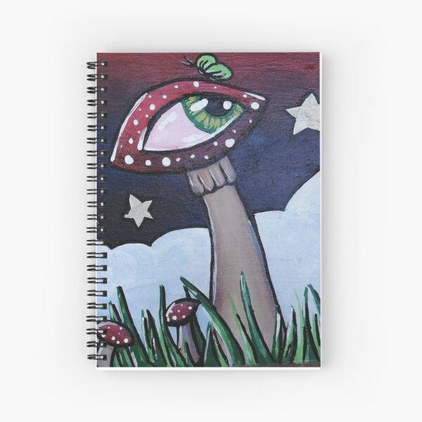 Magical mushroom garden | mushroom shrooms with eyes and butterflies green butterfly garden Spiral Notebook