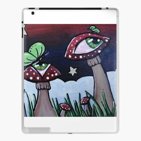 Magical mushroom garden | mushroom shrooms with eyes and butterflies green butterfly garden iPad Skin