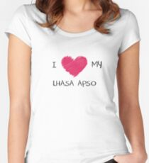 I Love My Lhasa Apso Heart Shirt For Dog Lovers Women's Fitted Scoop T-Shirt
