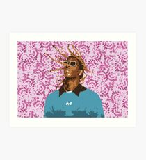 Drawn Young Thug on Petals Art Print