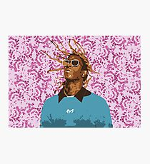 Drawn Young Thug on Petals Photographic Print