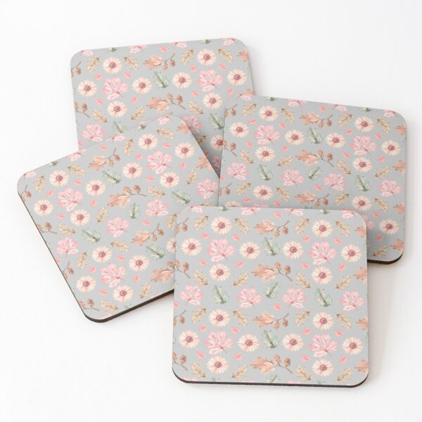 Pattern with autumn flowers and leaves Coasters (Set of 4)