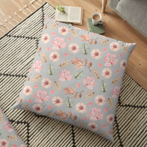Pattern with autumn flowers and leaves Floor Pillow