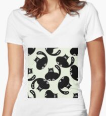 Cartoon pattern with cute black cats Women's Fitted V-Neck T-Shirt