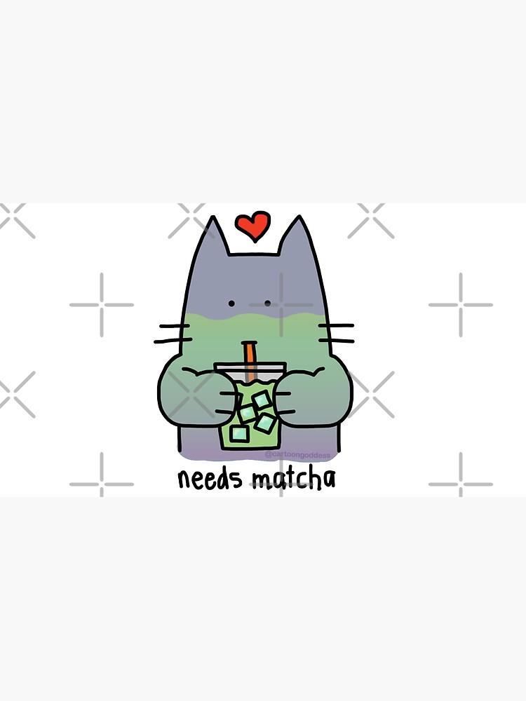 Iced Matcha Cat by cartoongoddess