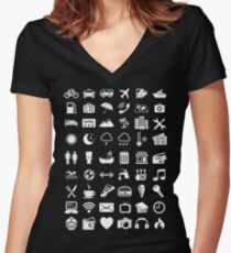 Travel Icons Language (White) Women's Fitted V-Neck T-Shirt