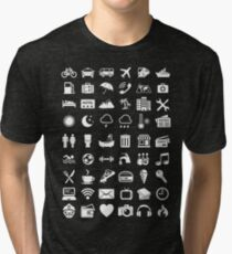 Travel Icons Language (White) Tri-blend T-Shirt