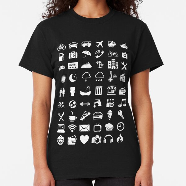 Travel Icons Language (White) Classic T-Shirt