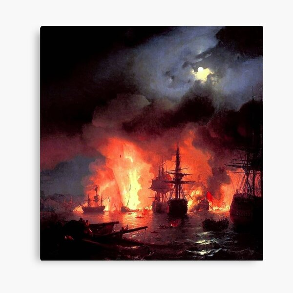 Battle of Chesme at Night, 1848. Painted by Ivan Aivazovsky Canvas Print