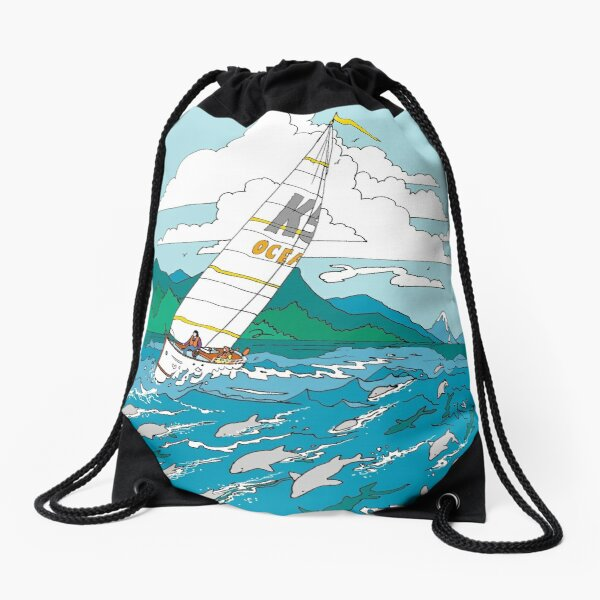 Sailing with the dolphins Drawstring Bag