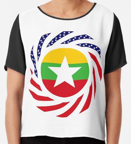 Myanmar American Multinational Patriot Flag Series Chiffon Top