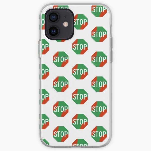 STOP (not really though) - green and red stop sign iPhone Soft Case