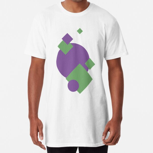 Geometric shapes - purple and green muted Long T-Shirt