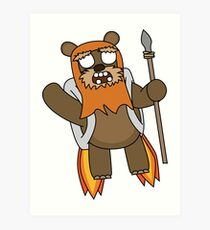 zombie ewok with a jetpack Art Print