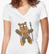 zombie ewok with a jetpack Women's Fitted V-Neck T-Shirt