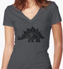 Stegosaurus Lace - Black / Grey Women's Fitted V-Neck T-Shirt
