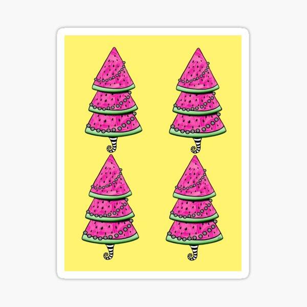 Aussie Xmas Design on Yellow #1 Watermelon Tree with Presents Sticker