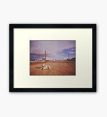 Australian Outback dog sitting road Analogue Framed Print