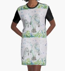 Mother Manatee and baby by Liz H Lovell Graphic T-Shirt Dress
