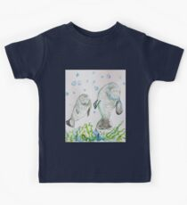 Mother Manatee and baby by Liz H Lovell Kids Tee