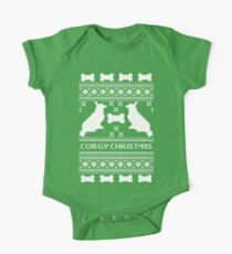 Christmas sweater - corgi christmas green Kids Clothes