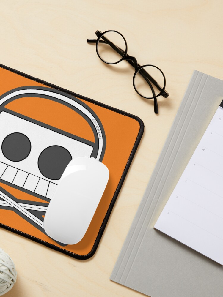 Alternate view of X Marks The Beats - Cassette Skull and pencil cross bones orange Mouse Pad