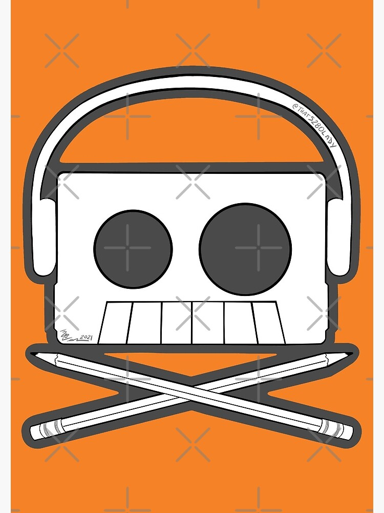 X Marks The Beats - Cassette Skull and pencil cross bones orange by that5280lady