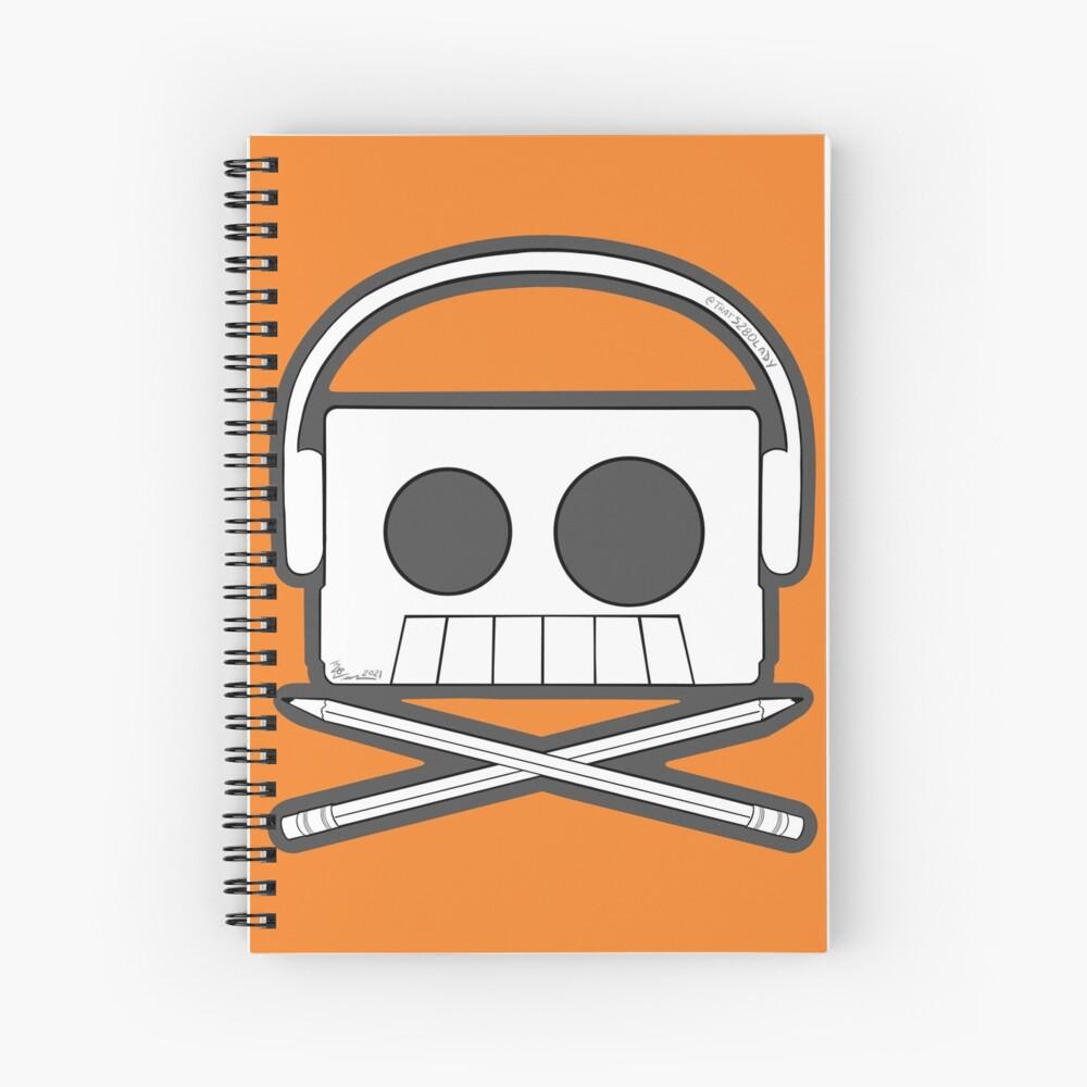 X Marks The Beats - Cassette Skull and pencil cross bones orange Spiral Notebook