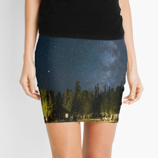 Green Trees and White House Under Blue Sky During Night time Mini Skirt