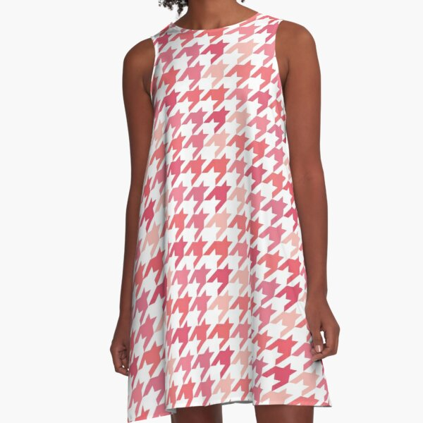 Chanel Fashion Print -   Pink Houndstooth Pattern A-Line Dress