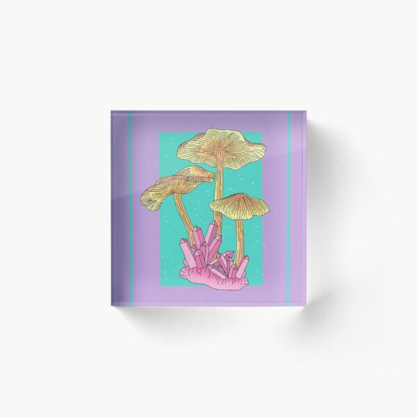 Crystal Mushrooms Acrylic Block