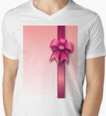 Pink Present Bow Men's V-Neck T-Shirt