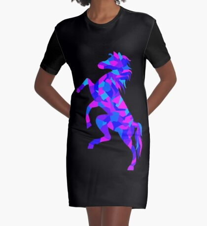 Colorful Geometric Horse Graphic T-Shirt Dress