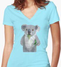 Koala with Koalafication Polygon Art Women's Fitted V-Neck T-Shirt