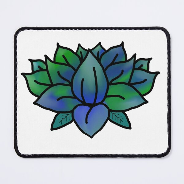 Blue-Green Lotus Flower Option 2 Mouse Pad